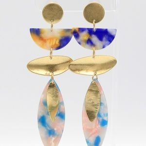 Blue Multi-Color Abstract Earrings